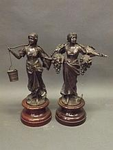 A pair of spelter figures, one of a girl carrying