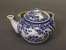 A Japanese blue and white porcelain teapot with