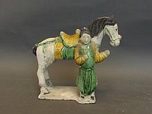 A Chinese Tang glazed pottery figure of a horse