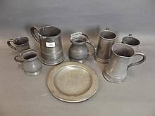 A quantity of antique pewter tankards etc, 6¼