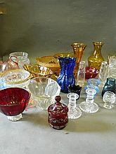 A quantity of cut and coloured glass bowls etc