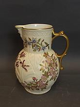 A large Worcester jug with a cream ground and