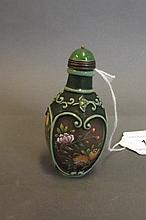 A Peking glass snuff bottle with relief enamel
