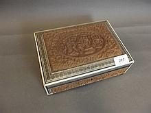 A C19th Indian carved sandalwood box with bone and