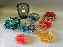 A quantity of coloured glass bowls and vases etc