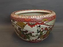 A large Chinese crackleware pottery jardinière