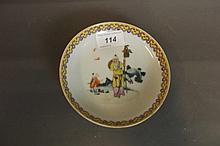 A Chinese porcelain dish with enamel decoration of