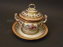 A C19th Continental porcelain soup tureen and