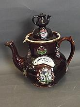 A large Bargeware teapot with treacle glaze and
