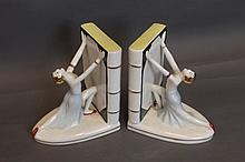 A pair of Art Deco style bathing belle pottery
