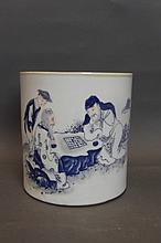 A large Chinese blue and white brushpot decorated