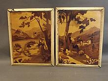 A pair of marquetry inlaid pictures depicting