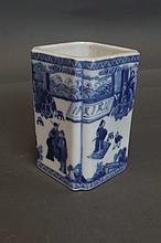 A Chinese square form blue and white brush pot