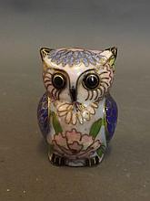 A small cloisonné model of an owl, 2¼