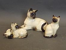 Three Beswick models of Siamese cats, 7½