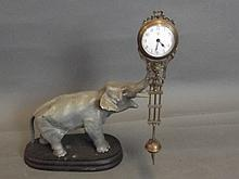 A cold painted bronze elephant mystery clock, 9¾