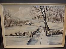 Les Shaw, a large oil on board, snowy landscape,