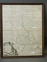 A hand coloured map of Surrey, engraved by J.