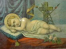 A C19th colour print, Sleeping Christ, in a maple