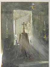 A watercolour, interior of a chapel, inscribed