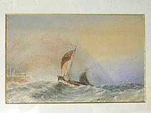 A C19th watercolour, sailing boat on stormy seas,