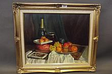 Phyl Sherwood, oil on canvas, still life study of