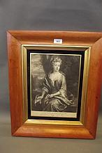 An C18th black and white print, 'Mrs Carter',