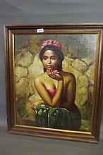 An oil on canvas, portrait of an Indonesian