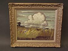 Norman Lloyd, oil on canvas, landscape with wild