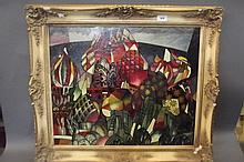 An oil on canvas, abstract scene of Russian