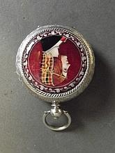 A Continental silver pocket watch with an applied