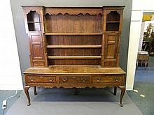 A good large C18th oak Welsh dresser with inlaid