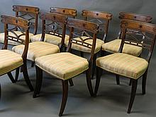A fine set of eight Regency mahogany dining chairs