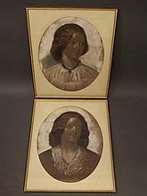 A pair of C19th coloured chalk drawings, portraits