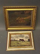 Two framed oils, cattle at pasture, signed