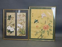 Two framed Chinese paintings on silk, flowers and
