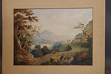 An unframed C19th watercolour, mountain landscape,