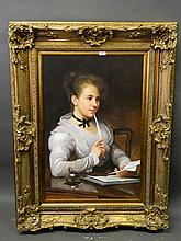 A large C20th oil on canvas, portrait of a maiden