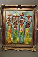 A large oil on canvas, four Indonesian women,