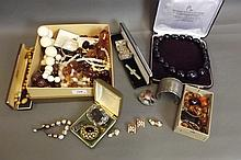 A quantity of costume jewellery to include silver,