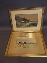 A watercolour, cornfield, and another watercolour,
