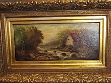 An oil on board, watermill in a wooded landscape,