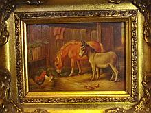 An oil on board, farm yard animals, 6½