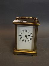 A brass timepiece carriage clock, early C20th, 4¾