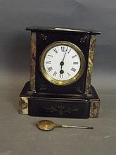 A Victorian marble and slate mantle clock, 9