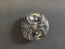 A silver plated vesta in the form of an owl's