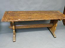 A good C18th fruitwood refectory dining table of