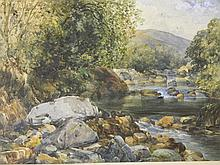 A C19th/C20th watercolour, mountain stream,