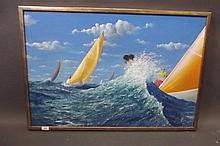 A modern oil on canvas, racing yachts, monogrammed