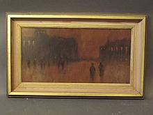 A mid C20th oil on board, figures in a city street